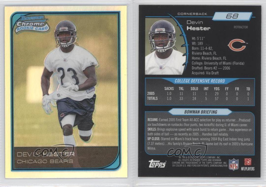 2006 Topps Chrome #252 Devin Hester Chicago Bears RC Rookie Football Card