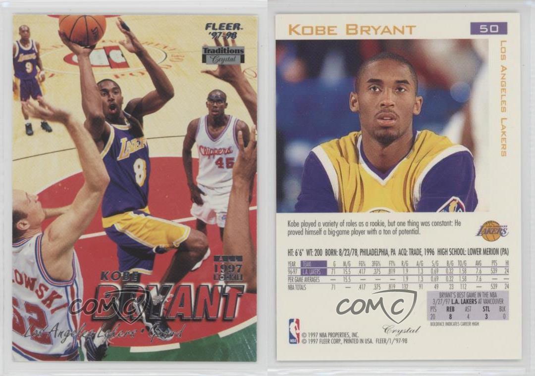 1997-98 Fleer Crystal #50 Kobe Bryant Los Angeles Lakers Basketball