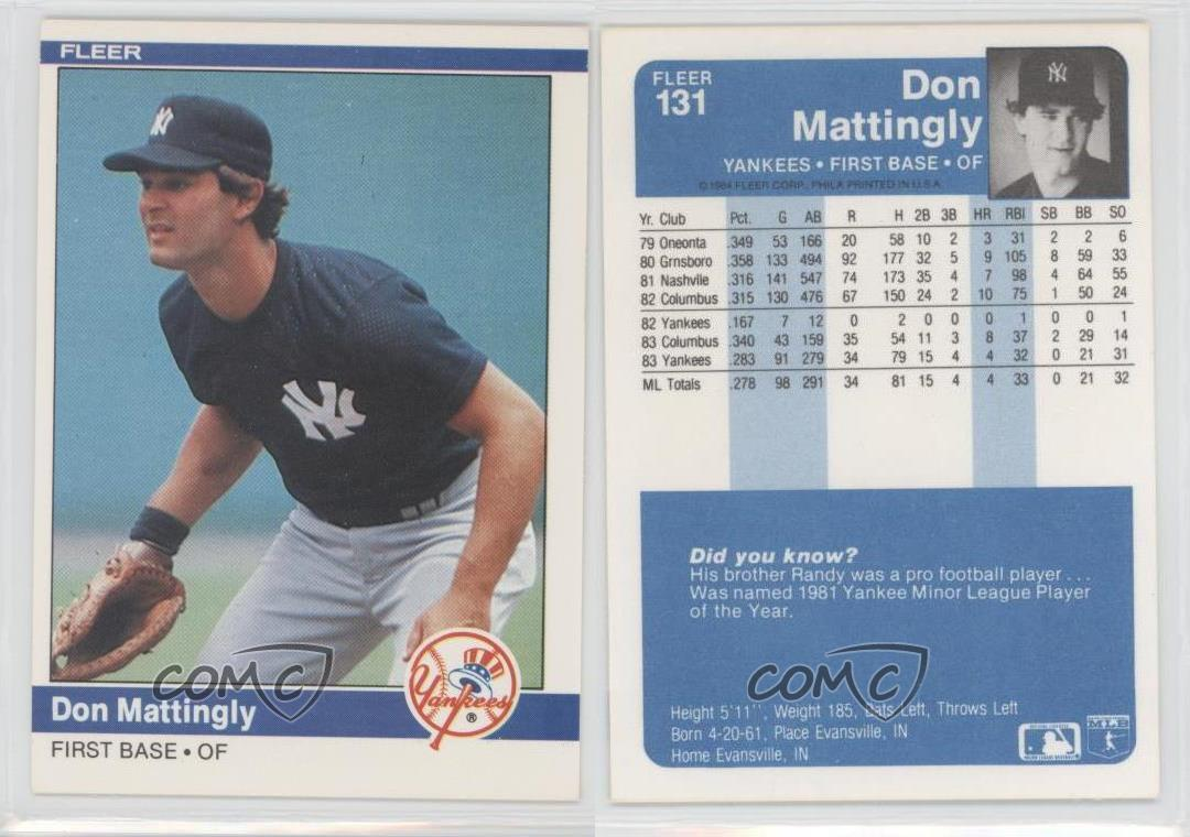 1984 Fleer 131 Don Mattingly New York Yankees Rc Rookie