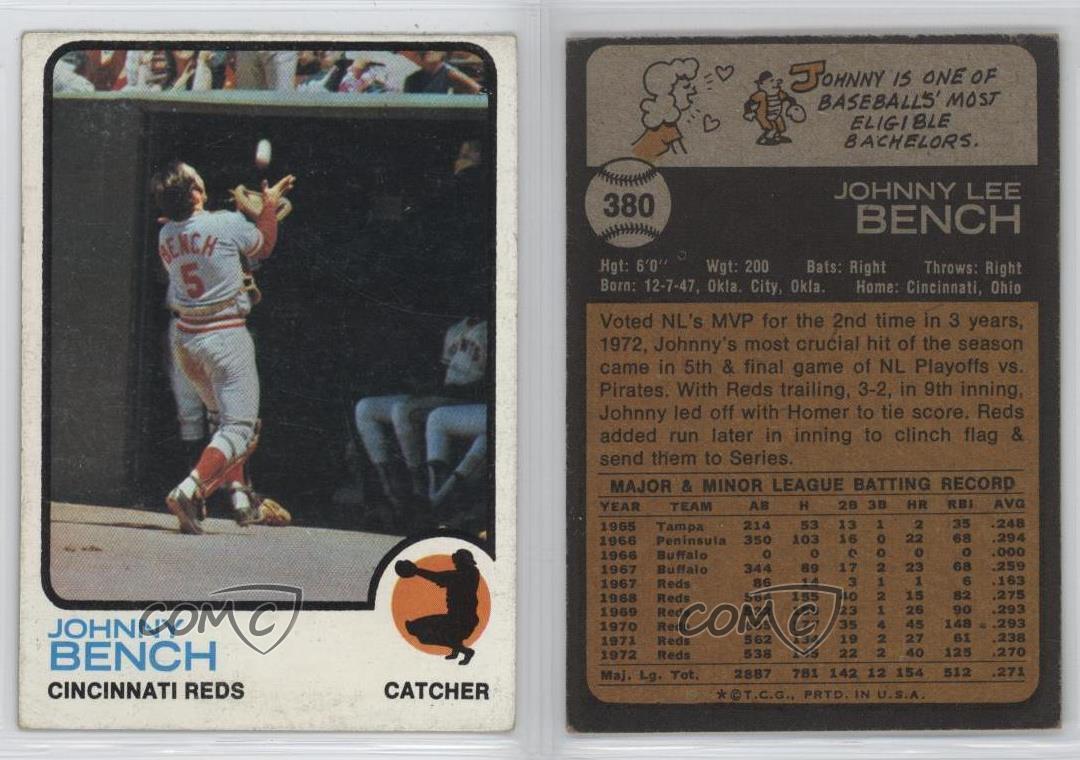 1973 Topps 380 Johnny Bench Cincinnati Reds Baseball Card Ebay