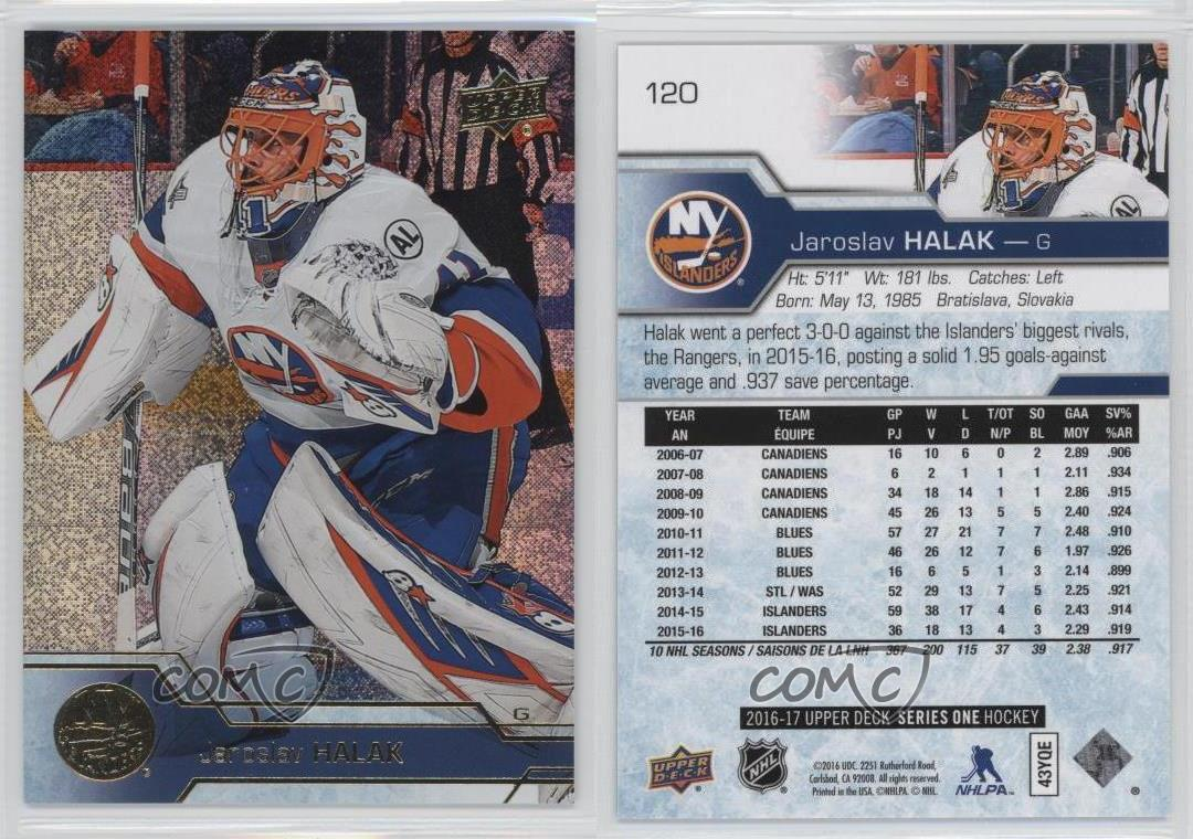 UD Canvas Hockey Card !! Jaroslav Halak 2016-17 Upper Deck