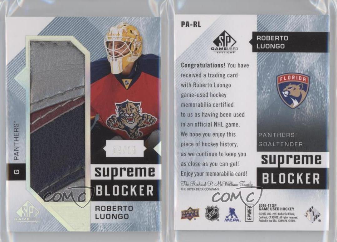 2016 Upper Deck Sp Game Used Supreme Blockers Pa Rl Roberto Luongo