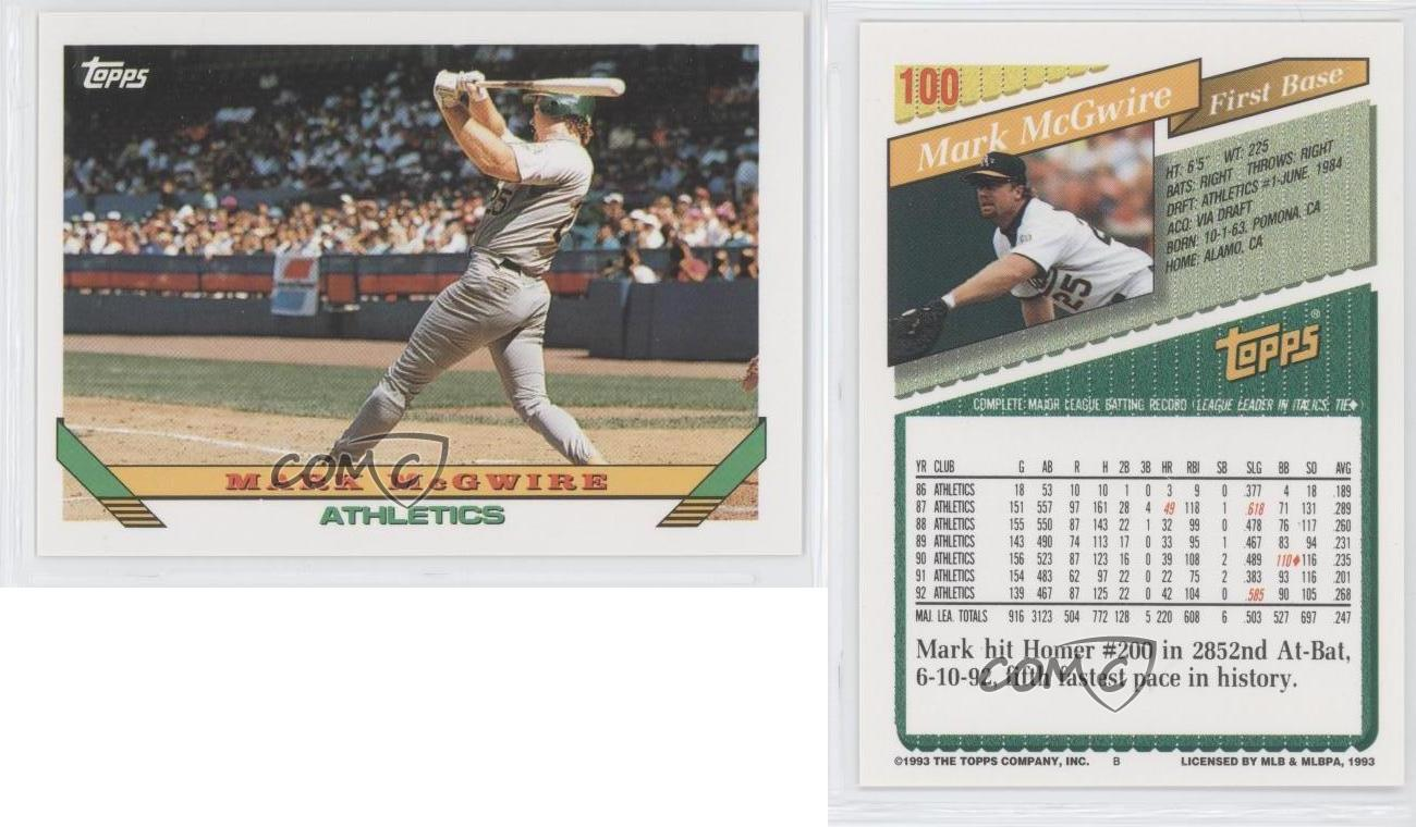 1993 Topps #100 Mark McGwire Oakland Athletics Baseball Card | eBay