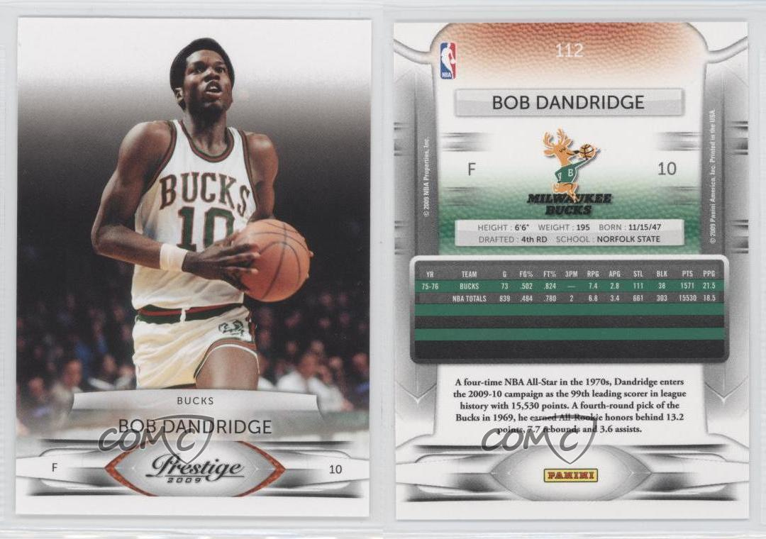 2009 10 Panini Prestige 112 Bob Dandridge Milwaukee Bucks