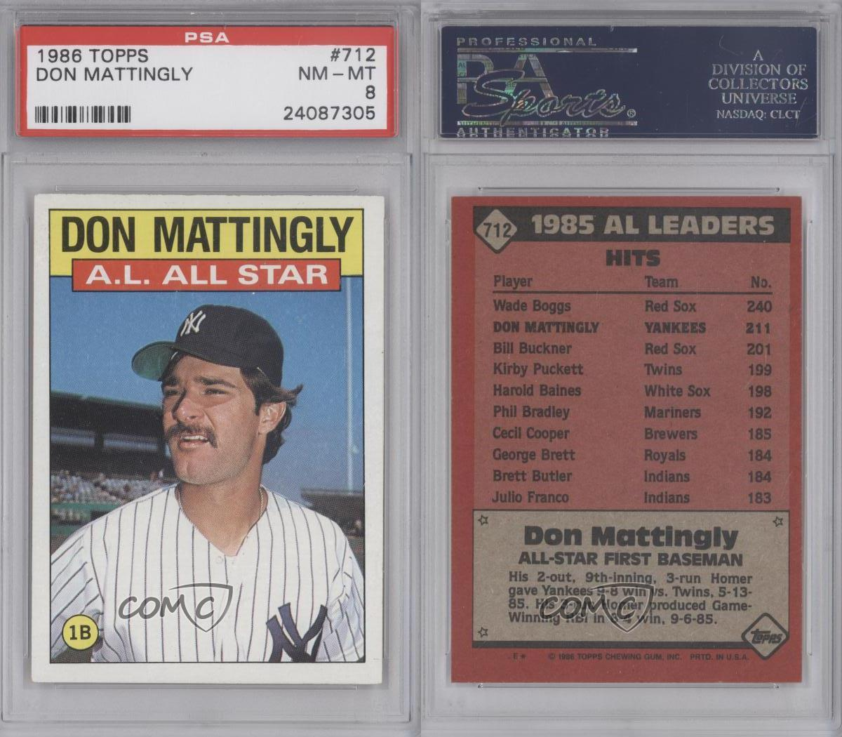 1986 Topps 712 Don Mattingly Psa 8 New York Yankees