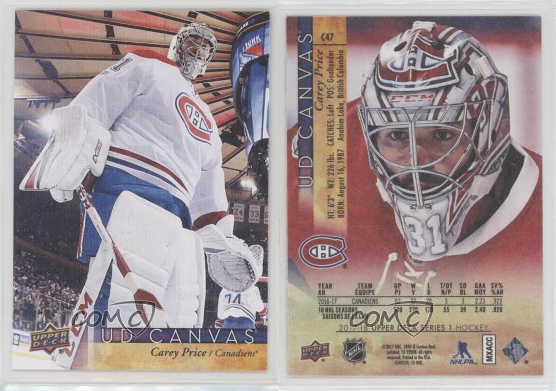2017-18-Upper-Deck-UD-Canvas-C47-Carey-Price-Montreal-Canadiens-Hockey-Card