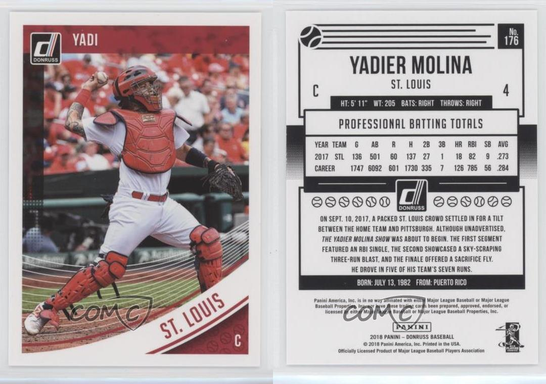 2018 Donruss 176 Yadier Molina St Louis Cardinals Baseball Card