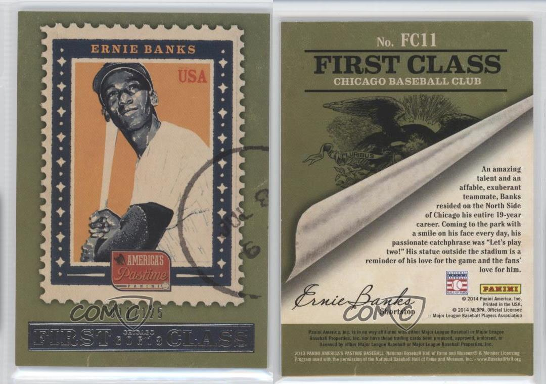 2013-Panini-America-039-s-Pastime-First-Class-FC11-Ernie-Banks-Chicago-Cubs-Card
