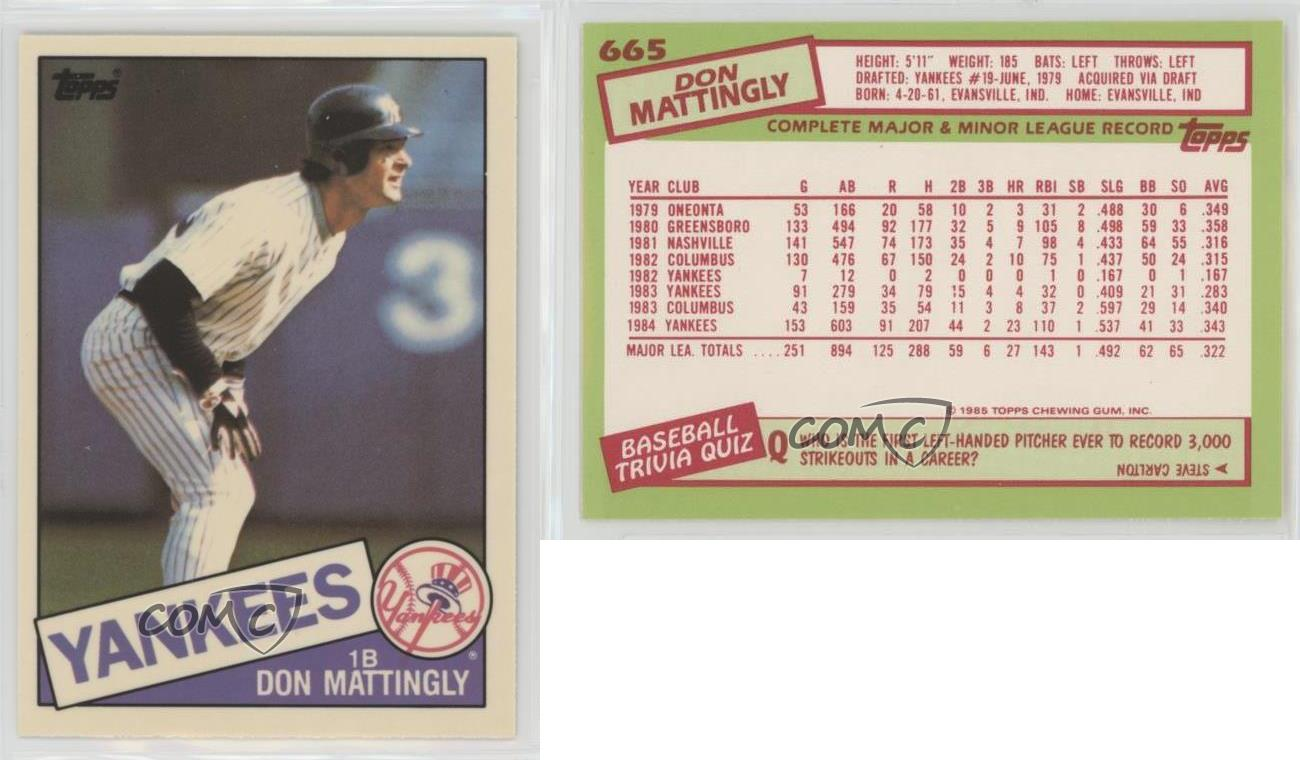 1985 Topps Box Set Collector S Edition Tiffany 665 Don