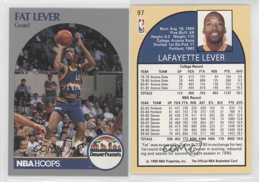 1990 91 NBA Hoops 97 Fat Lever Denver Nug s Basketball Card