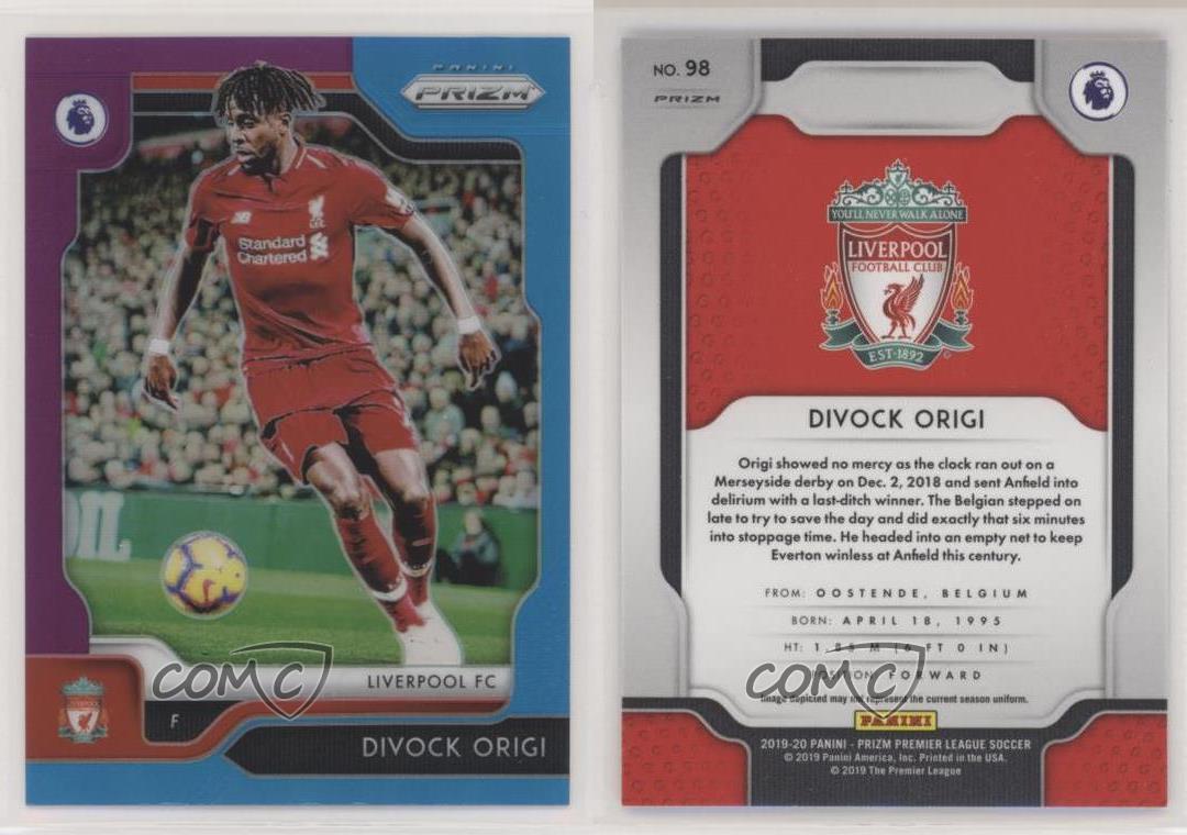 Liverpool Divock Origi tarjeta base-Panini Prizm Premier League 2019//20