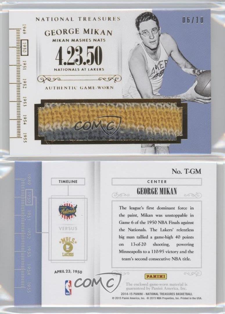 2014-Panini-National-Treasures-Timelines-Prime-T-GM-George-Mikan-Basketball-Card