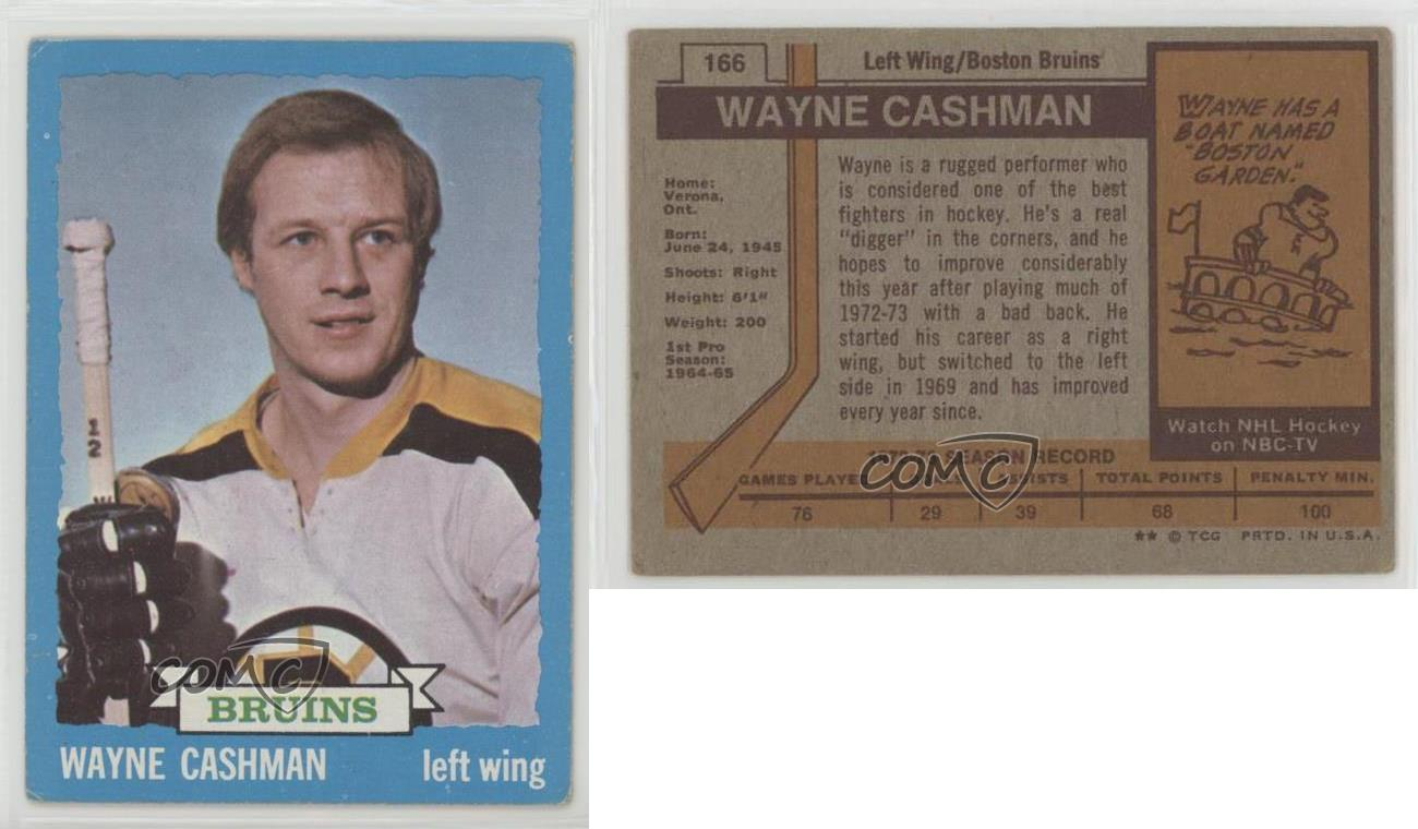 1973-74-Topps-166-Wayne-Cashman-Boston-Bruins-Hockey-Card