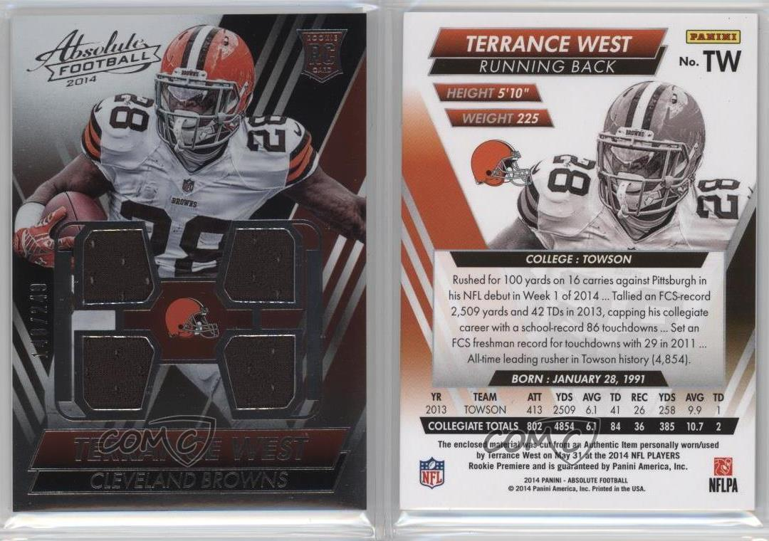 2014 panini absolute rookie jersey quads tw terrance west cleveland browns card youth nike cleveland