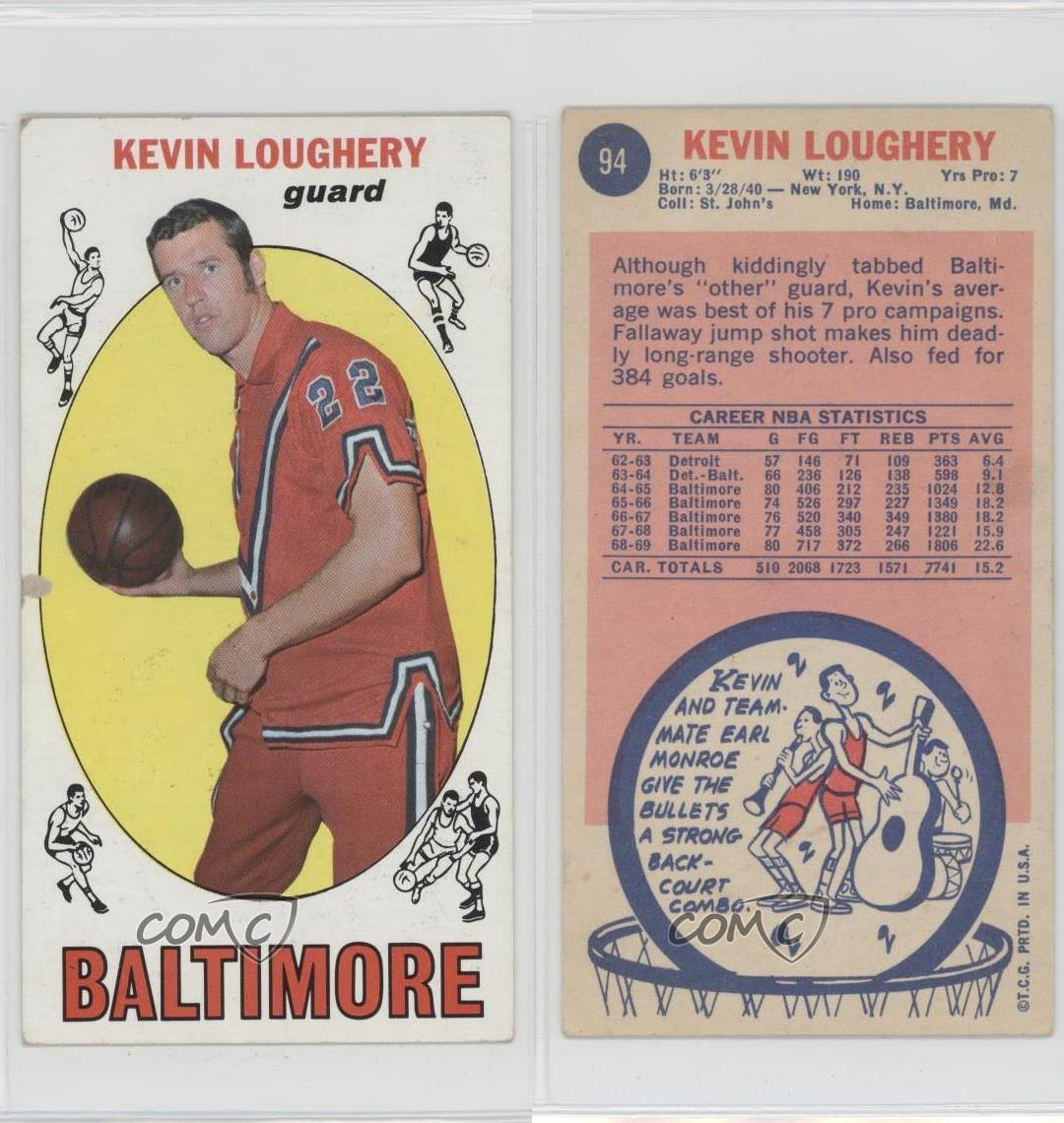 1969 70 Topps 94 Kevin Loughery Baltimore Bullets RC Rookie