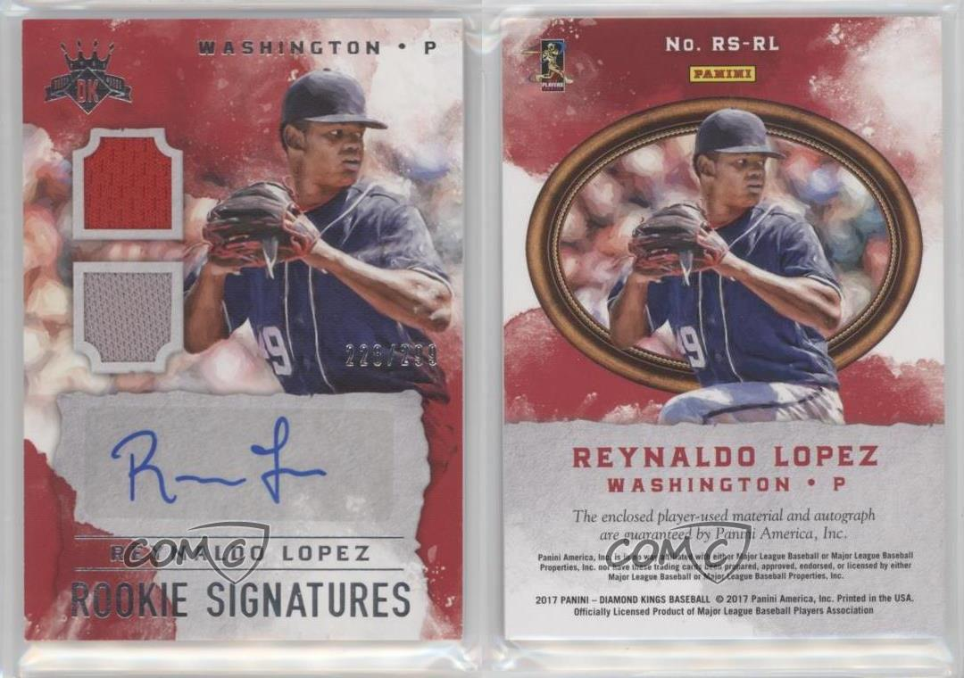 2017 panini diamond kings dk rookie signatures rs rl reynaldo lopez