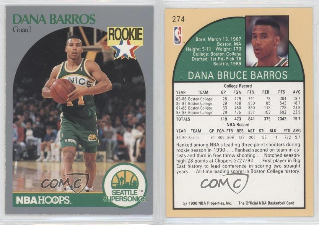 1990 91 NBA Hoops 274 Dana Barros Seattle Supersonics RC Rookie