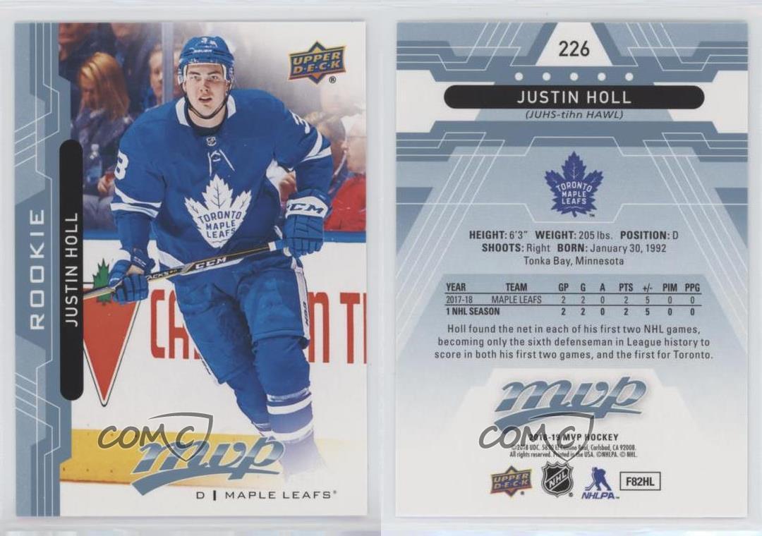 2018-19 UD MVP #226 Justin Holl RC Rookie Card Toronto Maple Leafs NM-MT