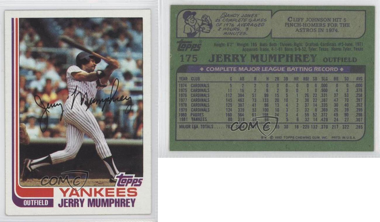 1982 Topps 175 Jerry Mumphrey New York Yankees Baseball Card