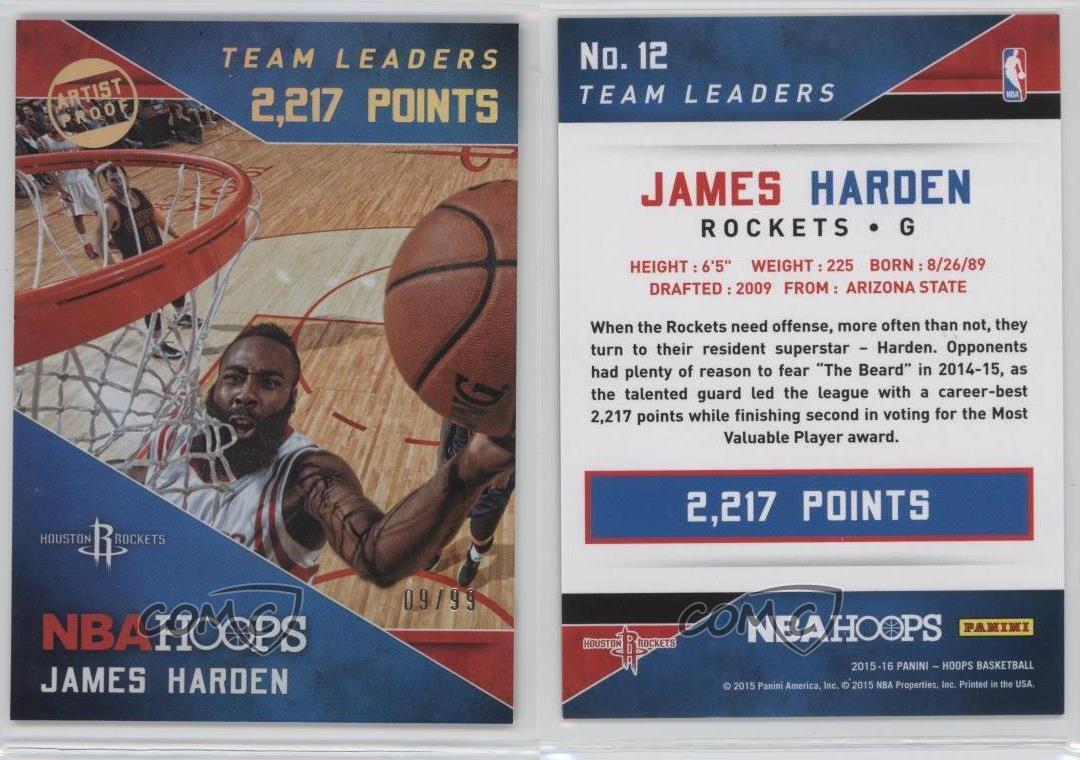 2015-16-Panini-NBA-Hoops-Team-Leaders-Artist-Proof-Holo-12-James-Harden-Card