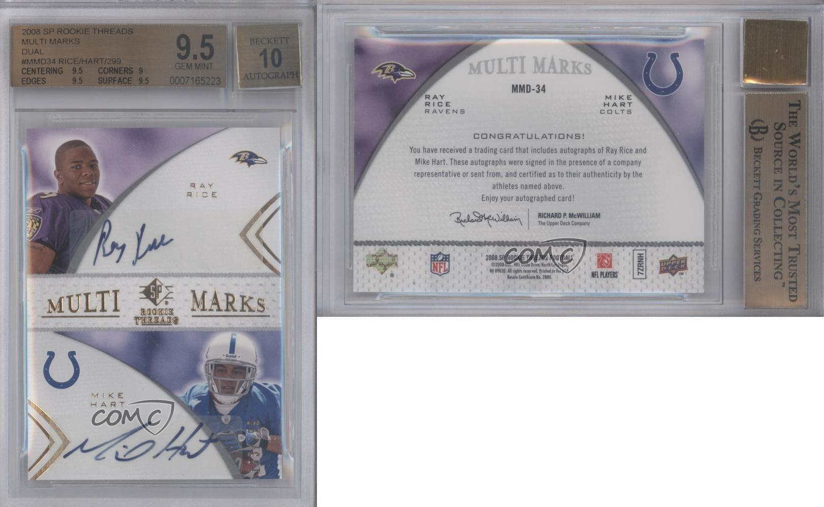2008-SP-Rookie-Threads-MMD-34-Mike-Hart-Ray-Rice-BGS-9-5-GEM-MINT-Auto-Card