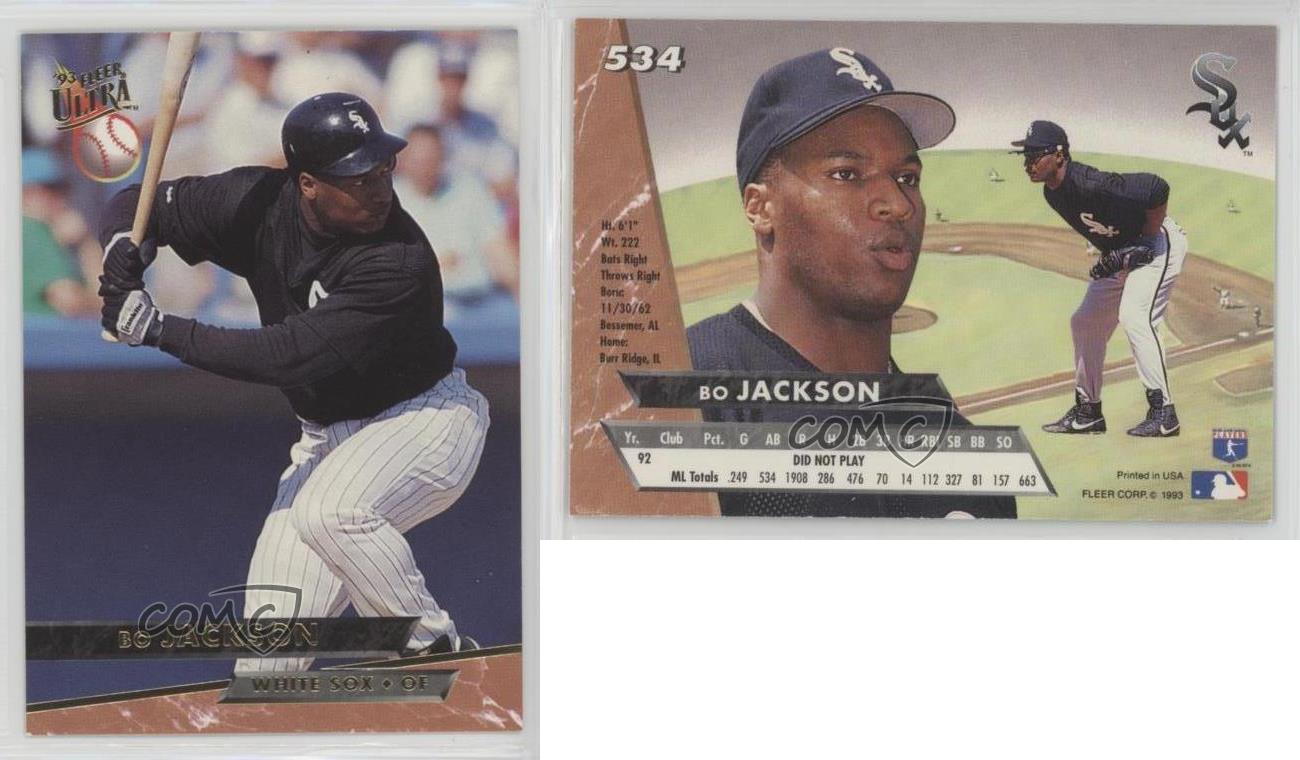 Details About 1993 Fleer Ultra 534 Bo Jackson Chicago White Sox Baseball Card