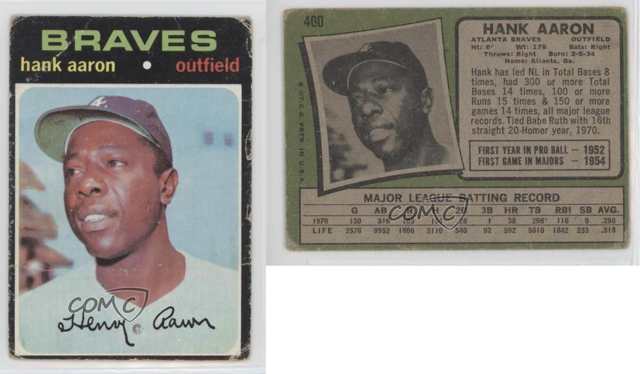 1971-Topps-400-Hank-Aaron-Atlanta-Braves-Baseball-Card thumbnail 2