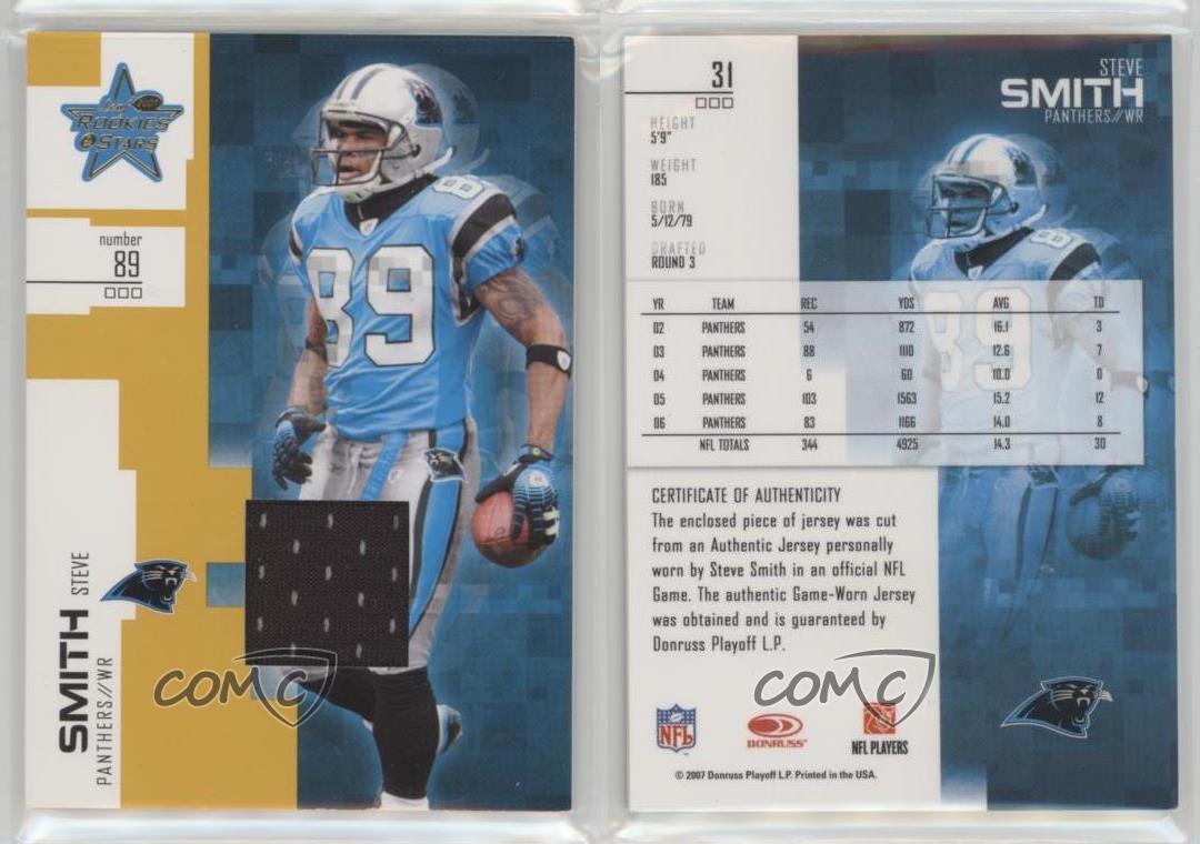 2007-Leaf-Rookies-amp-Stars-Gold-Materials-Memorabilia-31-Steve-Smith-Card