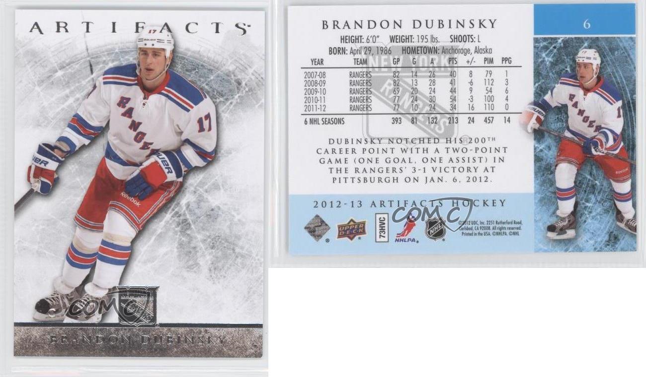 2012-13-Upper-Deck-Artifacts-6-Brandon-Dubinsky-New-York-Rangers-Hockey-Card