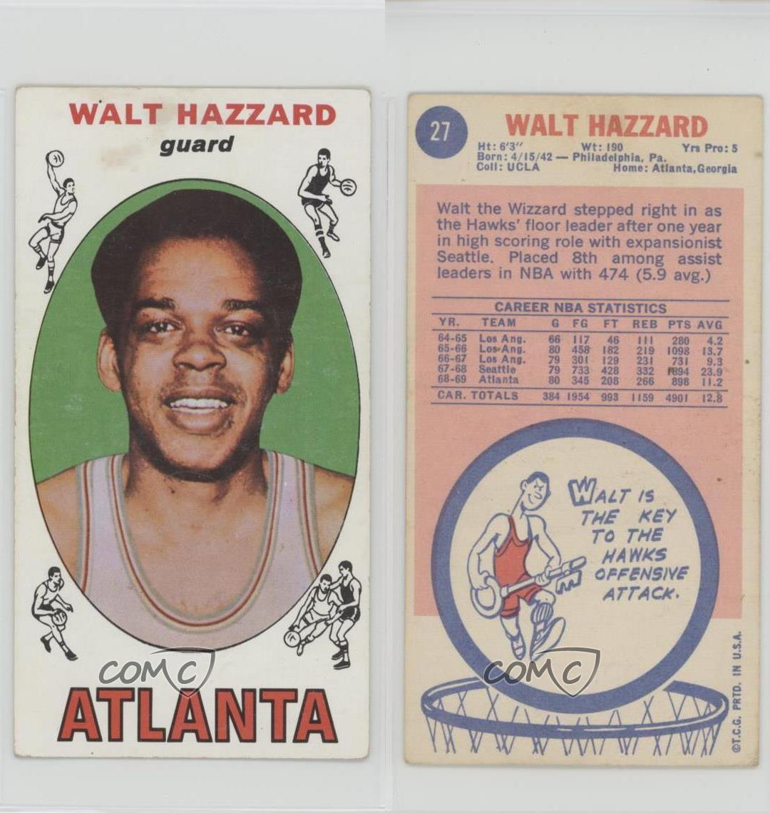 1969 70 Topps 27 Walt Hazzard Atlanta Hawks RC Rookie Basketball