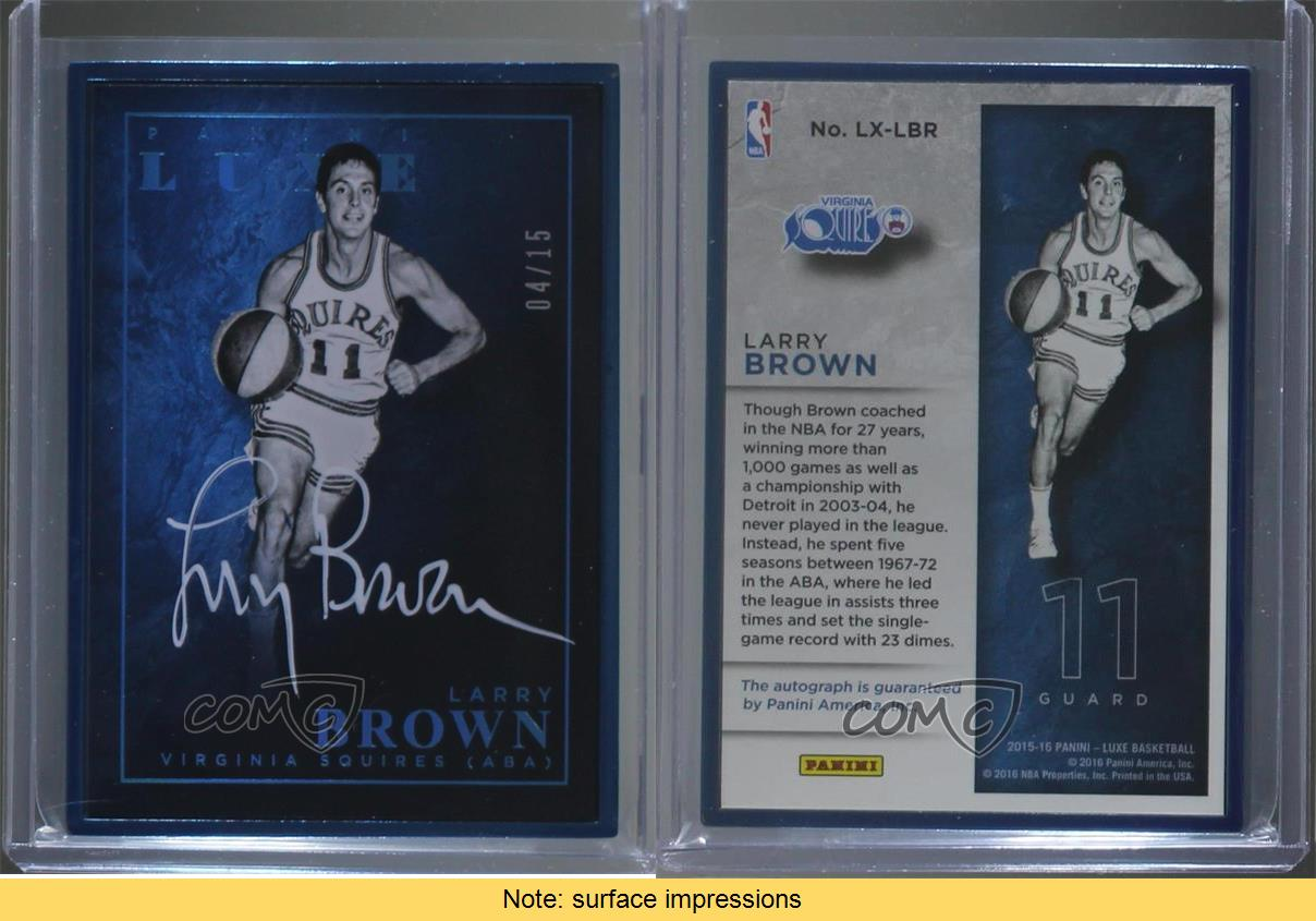 2015-16-Panini-Luxe-Framed-Autographs-Sapphire-LX-LBR-Larry-Brown-Auto-Card