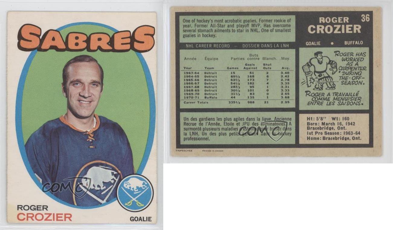 1971-72-O-Pee-Chee-36-Roger-Crozier-Buffalo-Sabres-Hockey-Card