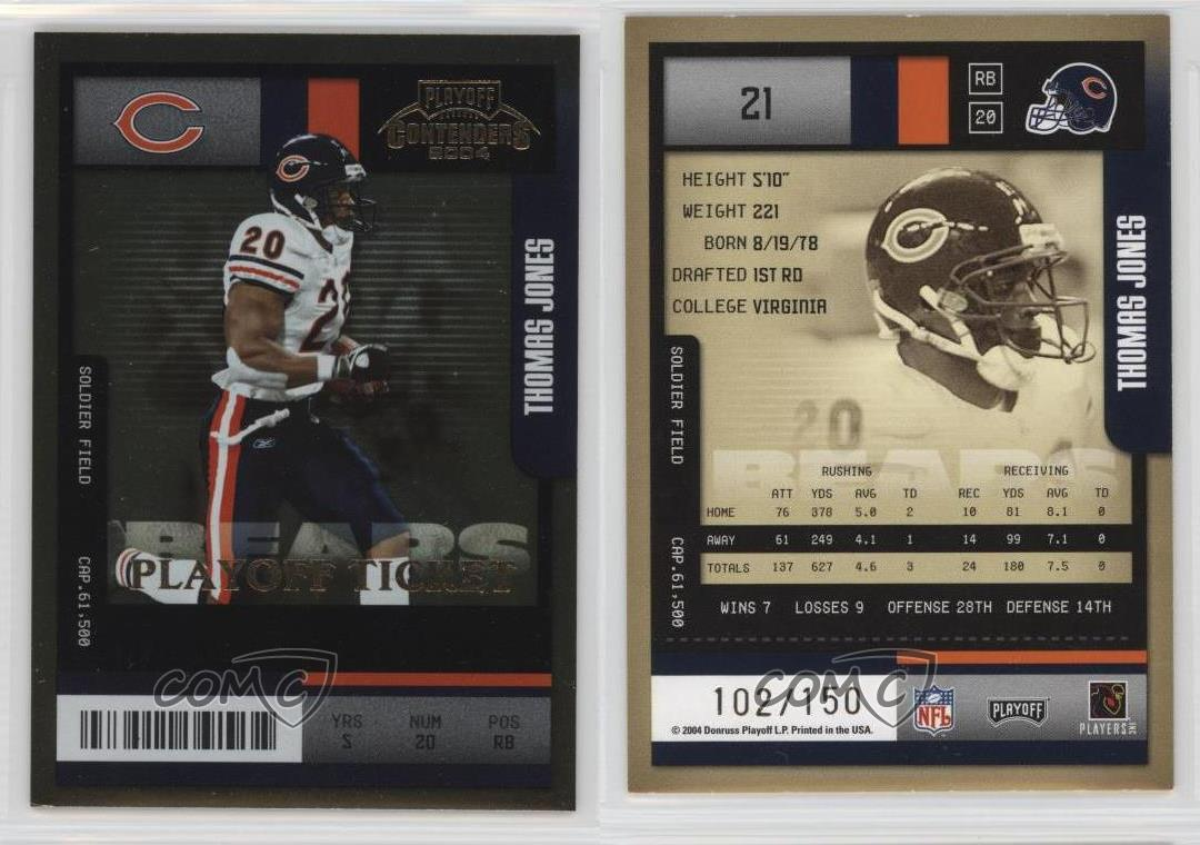 2004-Playoff-Contenders-Ticket-21-Thomas-Jones-Chicago-Bears-Football-Card