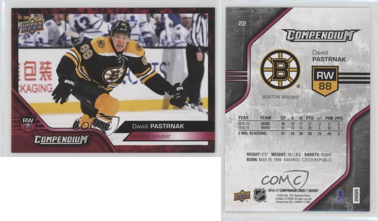2016-17 Upper Deck Compendium Red #619 David Backes Boston Bruins Hockey Card