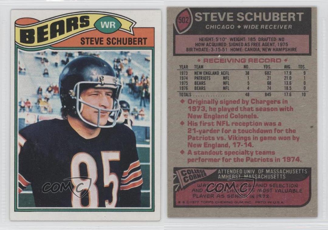 Steve Schubert 1977 Topps 502 Steve Schubert Chicago Bears RC Rookie Football Card