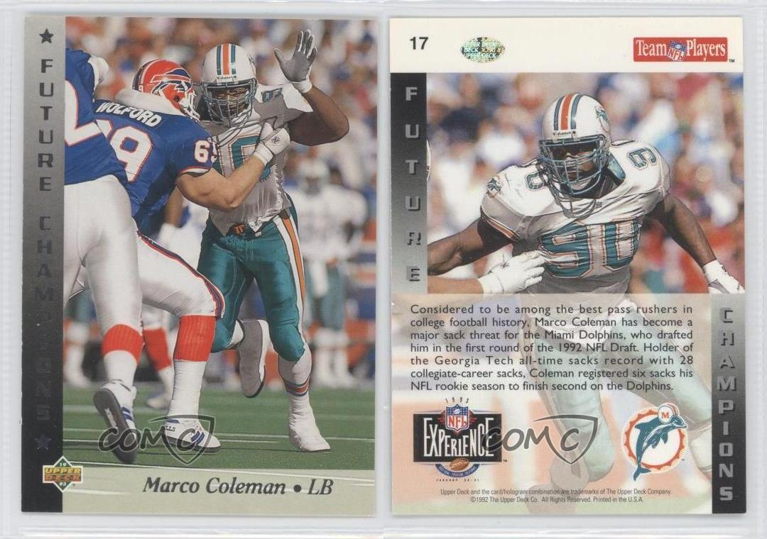 1993 Upper Deck NFL Experience #17 Marco Coleman Miami Dolphins ...