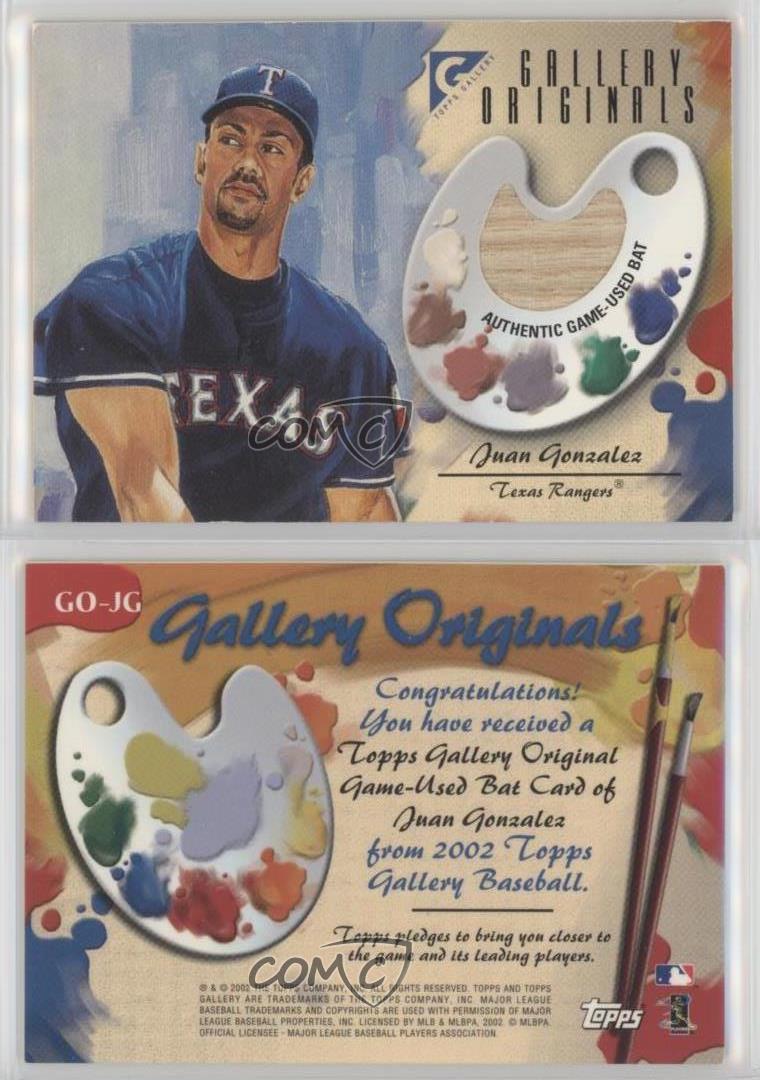 2002 Topps Gallery Originals Bat Go Jg Juan Gonzalez Texas