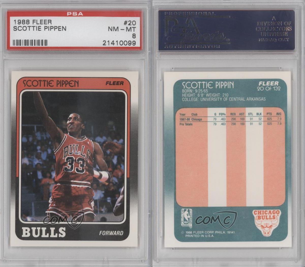 1988-89 Fleer #20 Scottie Pippen PSA 8 Chicago Bulls RC