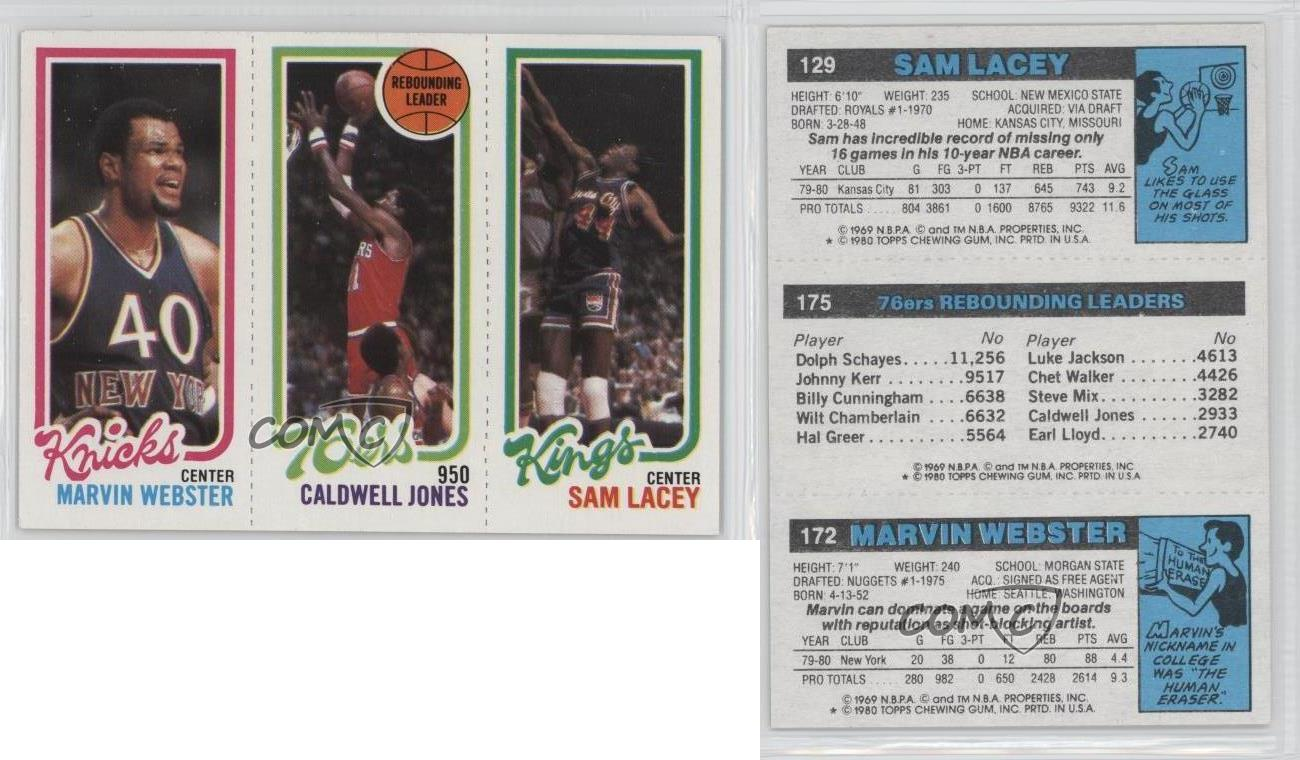 1980 Topps MWCJSL Marvin Webster Caldwell Jones Sam Lacey New