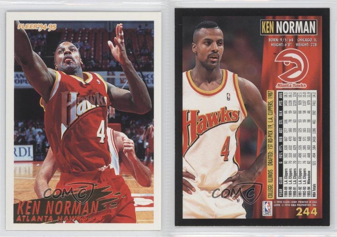 1994 95 Fleer 244 Tarjeta de baloncesto Ken Norman Atlanta Hawks