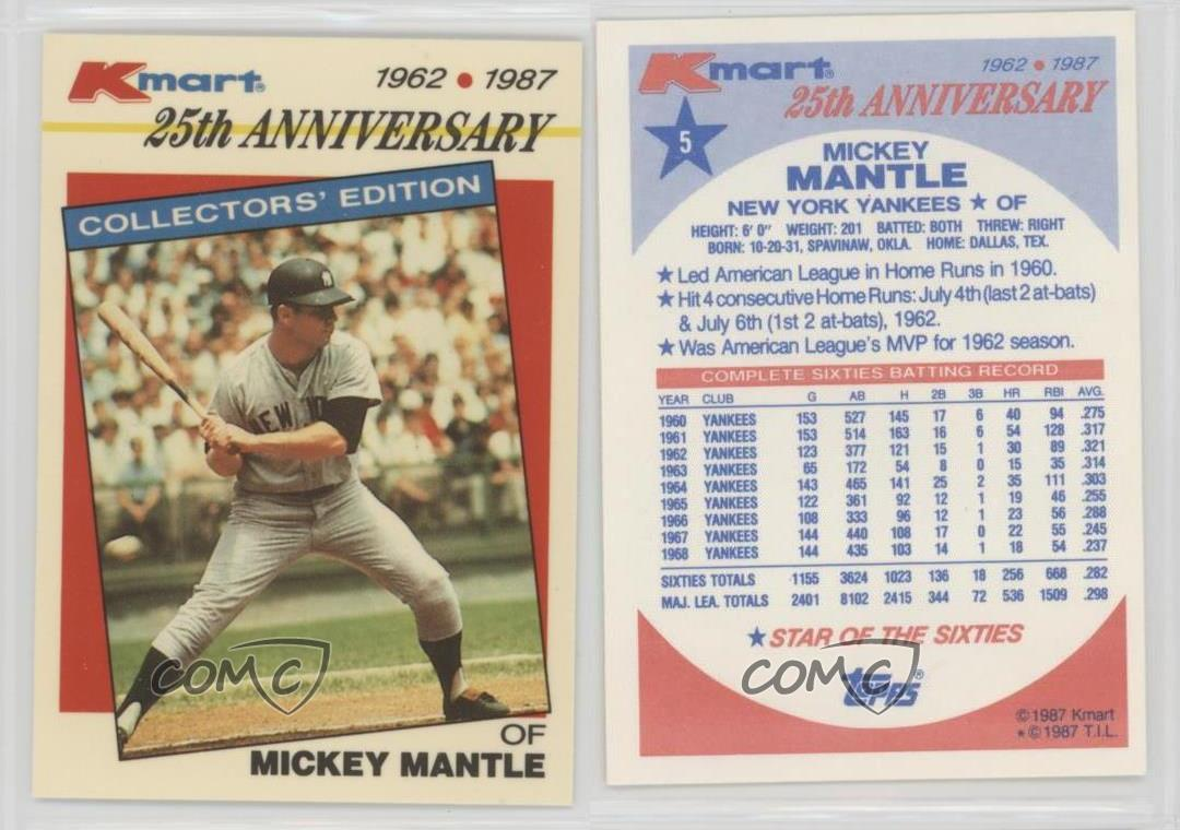 1987 topps kmart 25th anniversary 5 mickey mantle new york yankees 1987 topps kmart 25th anniversary 5 mickey mantle gumiabroncs Images