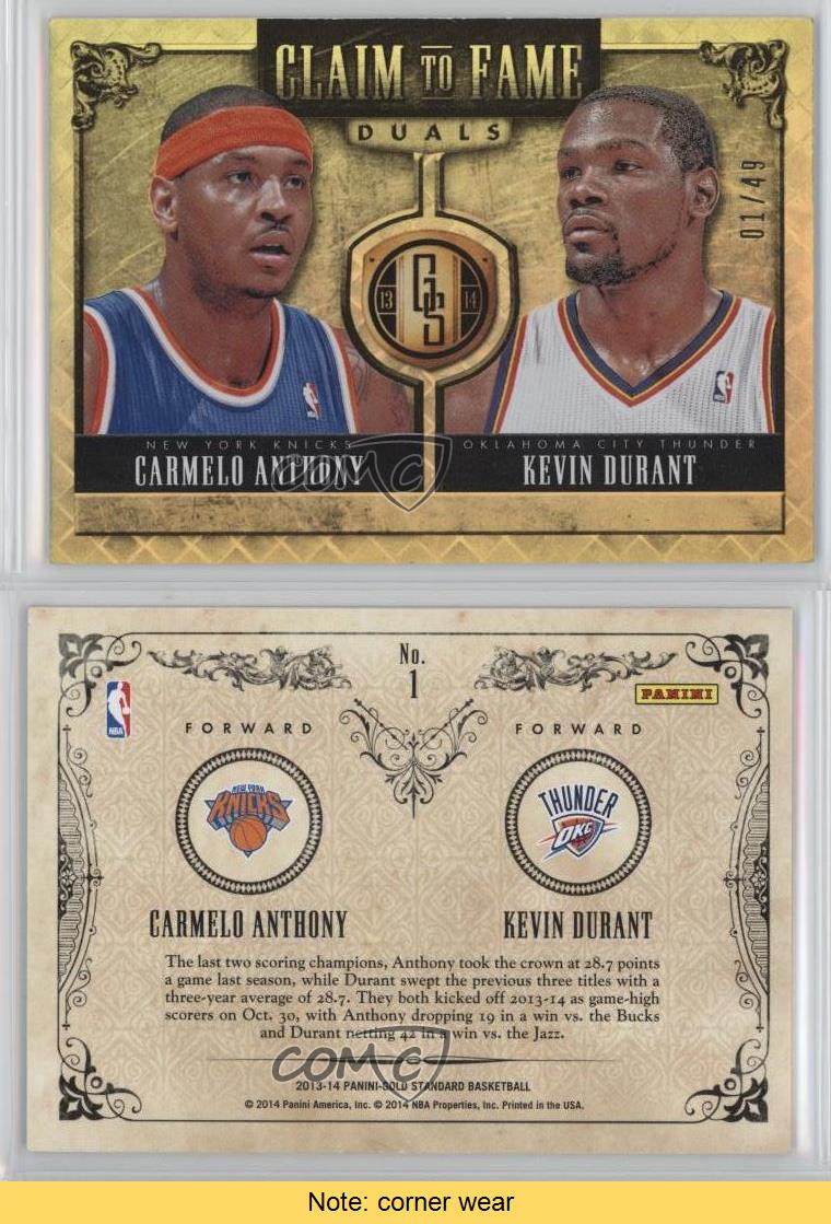 2013-14-Panini-Gold-Standard-Claim-to-Fame-Duals-1-Kevin-Durant-Carmelo-Anthony
