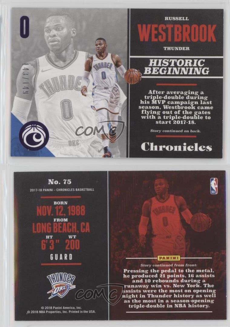 2017-18-Panini-Chronicles-Purple-75-Russell-Westbrook-Oklahoma-City-Thunder-Card
