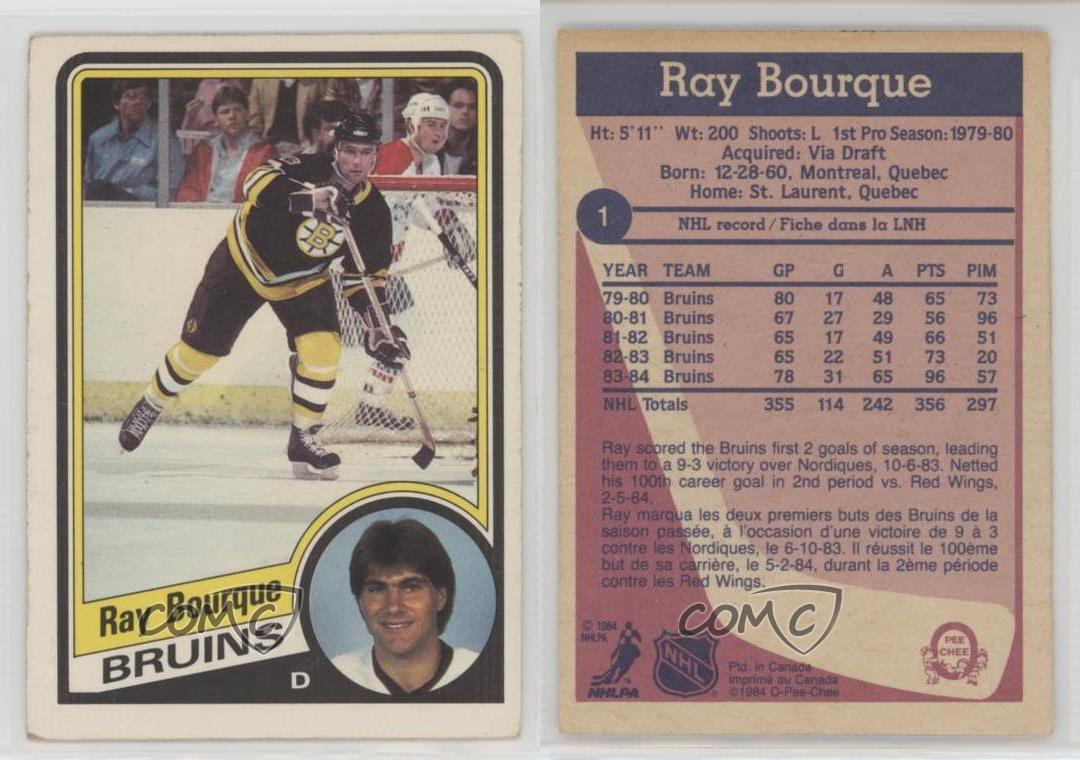 1984-85-O-Pee-Chee-1-Ray-Bourque-Boston-Bruins-Hockey-Card