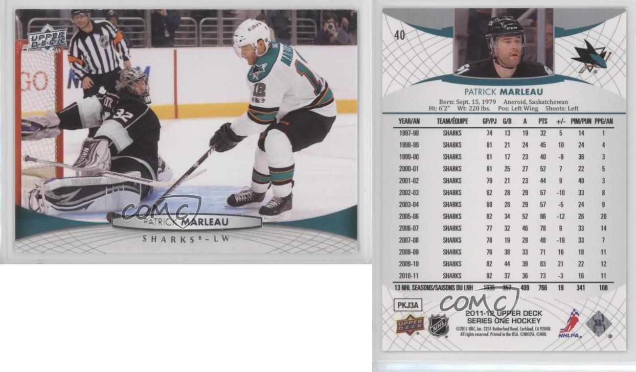 2011-12-Upper-Deck-40-Patrick-Marleau-San-Jose-Sharks-Hockey-Card