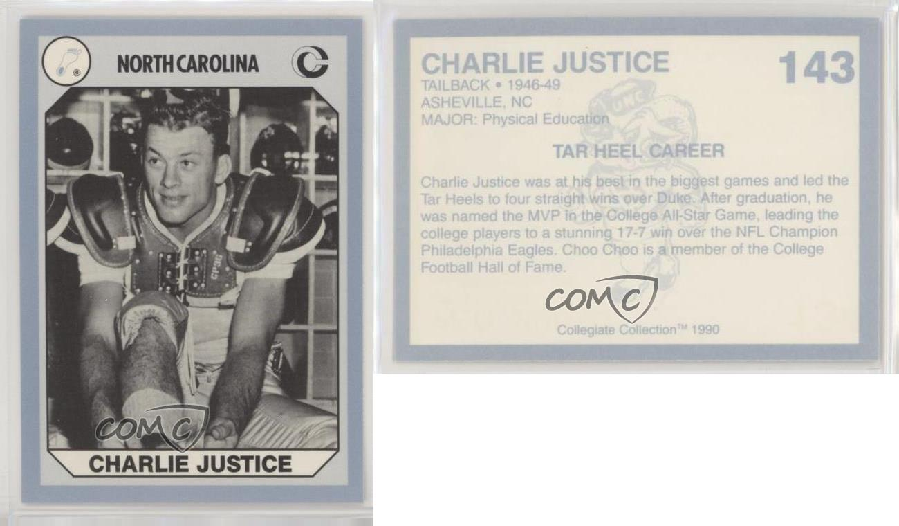 Details about 1990 Collegiate Collection North Carolina Tar Heels Charlie Justice #143