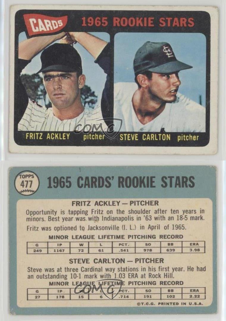 1965-Topps-477-Cards-Rookie-Stars-Fritz-Ackley-Steve-Carlton-Carlton-Fritz-RC