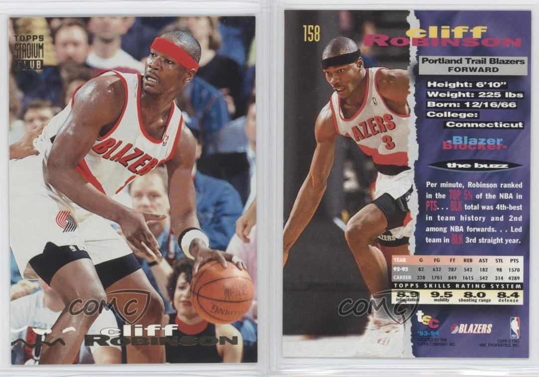 1993 94 Topps Stadium Club 158 Cliff Robinson Portland Trail