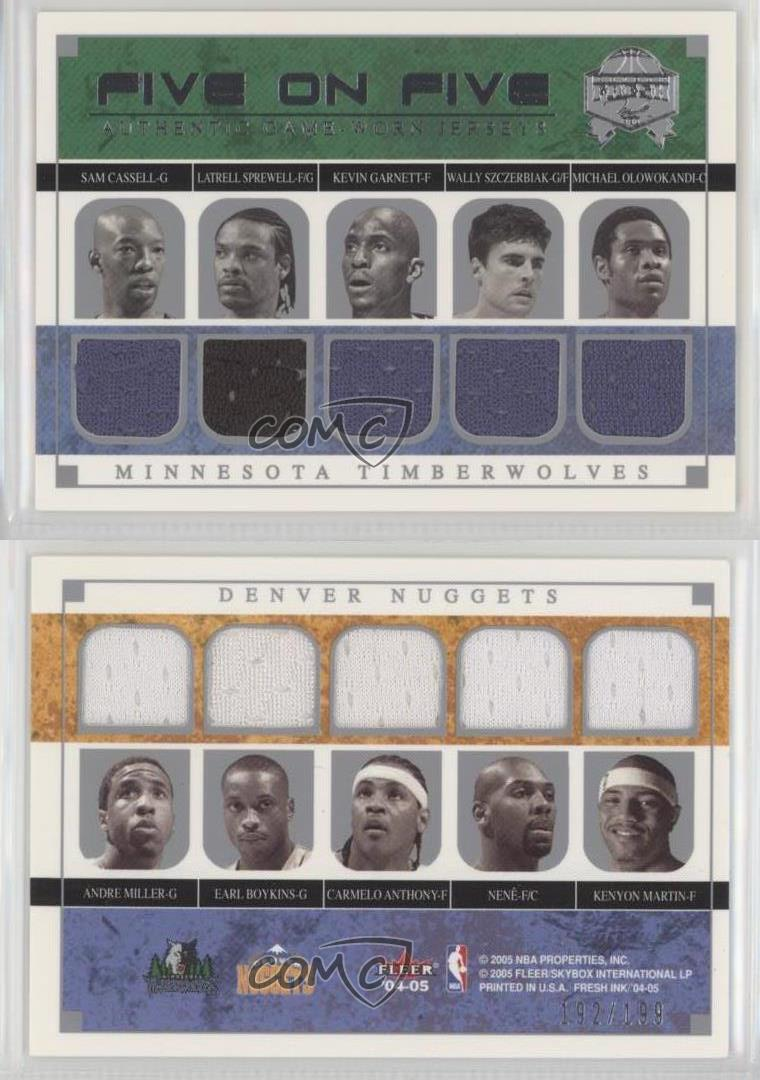 2004-Skybox-Fresh-Ink-Five-On-Jerseys-MTDN-Denver-Nuggets-Minnesota-Timberwolves