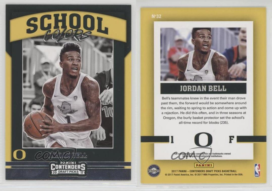 2017-18-Panini-Contenders-Draft-Picks-School-Colors-32-Jordan-Bell-Oregon-Ducks